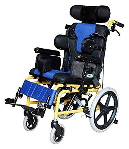 HLZY Silla de ruedas ligera y fácil de usar, para adultos, ligera, médica, ergonómica, para niños, silla de ruedas multifuncional para parálisis cerebral, silla de ruedas para niños