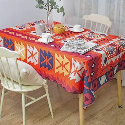 Creek Ywh tafelkleed, katoen, linnen, geometrisch patroon, rond, eettafel, TV-meubel, tafelkleed, katoen en linnen, 200 x 140 cm
