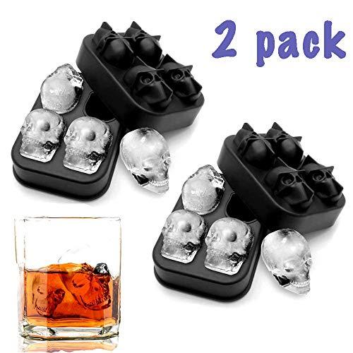3D Schädel Flexible Silikon Eiswürfelform Tablett, Food Grade Flexible Silikon Eiswürfelbereiter in Formen für Whisky-Eis und Cocktails, Coole Runde Eiswürfelbereiter, Make for Four Giant Skulls (2)