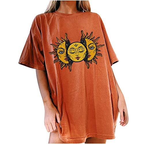 Jamicy Oversized Tshirt Damen Sonne Mond Motiv Sportshirt Kurzarm, Sport Oberteile Vintage Sweatshirt Damen Rundhals Oberteile Teenager Mädchen Best Friends T Shirts Damen Lang (Orange, M)