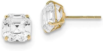 ca684dfbb ICE CARATS 14k Yellow Gold 7x7 Asscher Cut Cubic Zirconia Cz Studs Post  Stud Earrings Gemstone