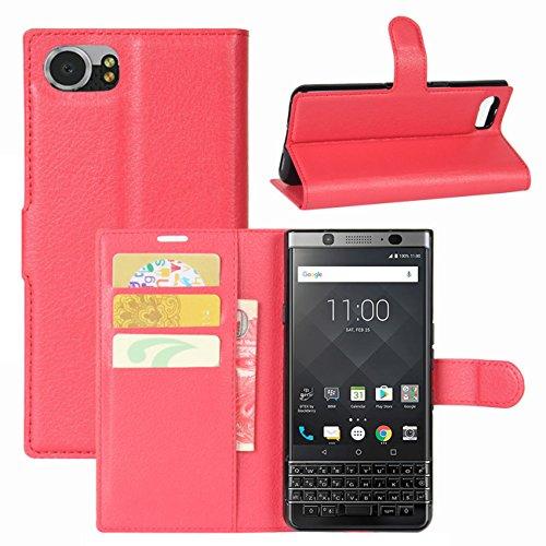 HualuBro BlackBerry KEYone Hülle, Leder Brieftasche Etui LederHülle Tasche Schutzhülle HandyHülle [Standfunktion] Handytasche Leather Wallet Flip Hülle Cover für BlackBerry KEYone (Rot)