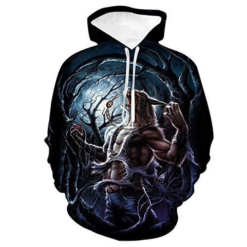 WPHRL Sweats à Capuche Sweatshirt Chemise de Couple Monstre féroce Nuit 3D Print Pull à Capuche Pullover Sweater Casual Hoodie Manche Longue Tops Hauts L