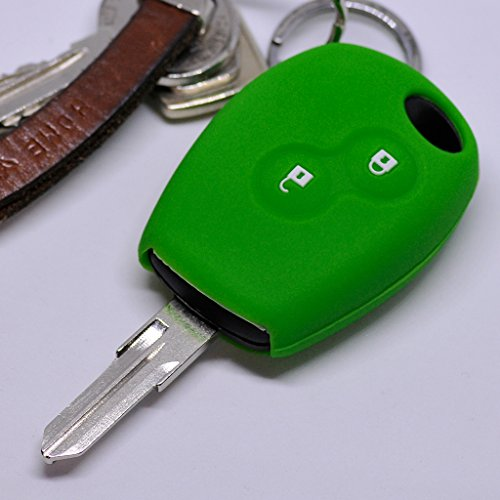 Soft Case Schutz Hülle Auto Schlüssel für Dacia DOKKER SANDERO Duster LODGY Logan Renault CLIO TWINGO 2 Tasten/Farbe Grün