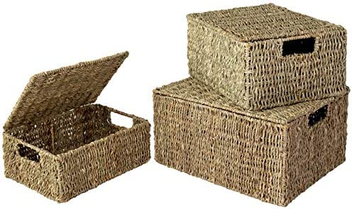 Set of 3 Pack Nesting Storage Baskets with Lids and Insert Handles for Home Organization Closet product image