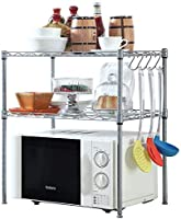 Callas 2-Tier Height Adjustable Microwave, Oven, Dish Rack Shelf with 4 Hooks, (Chrome | CA 1246 | 60 x 30 x 60 cm)