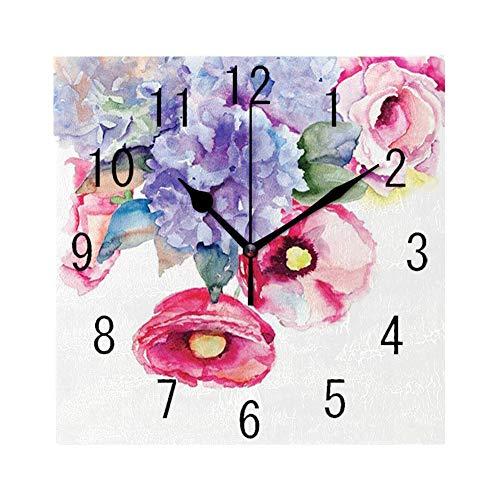 GULTMEE Square Wall Clock Home Decorative Clocks,Watercolor, Rose Lave