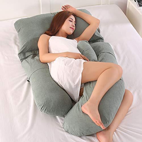 Almohada en forma de G para mujer embarazada de costado, extraíble, multifuncional, soporte de cintura, silenciosa y cómoda, ergonómica, almohada larga de maternidad (verde militar)