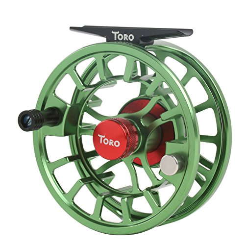 Maxcatch Toro Series Fly Fishing Reel with Large Arbor, CNC-Machined Aluminum Alloy Body: 3/4, 5/6, 7/8 wt in Blue, Green, or Black (Green, 5/6 wt)