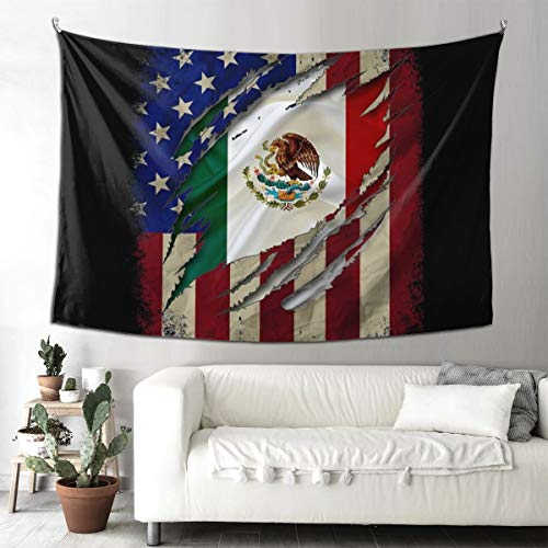 Proud Mexican American Flag Decorative Tapestry Tapestries Wall Hanging Art Decoration For Bedroom/Living Room/Dorm 60x90 Inch