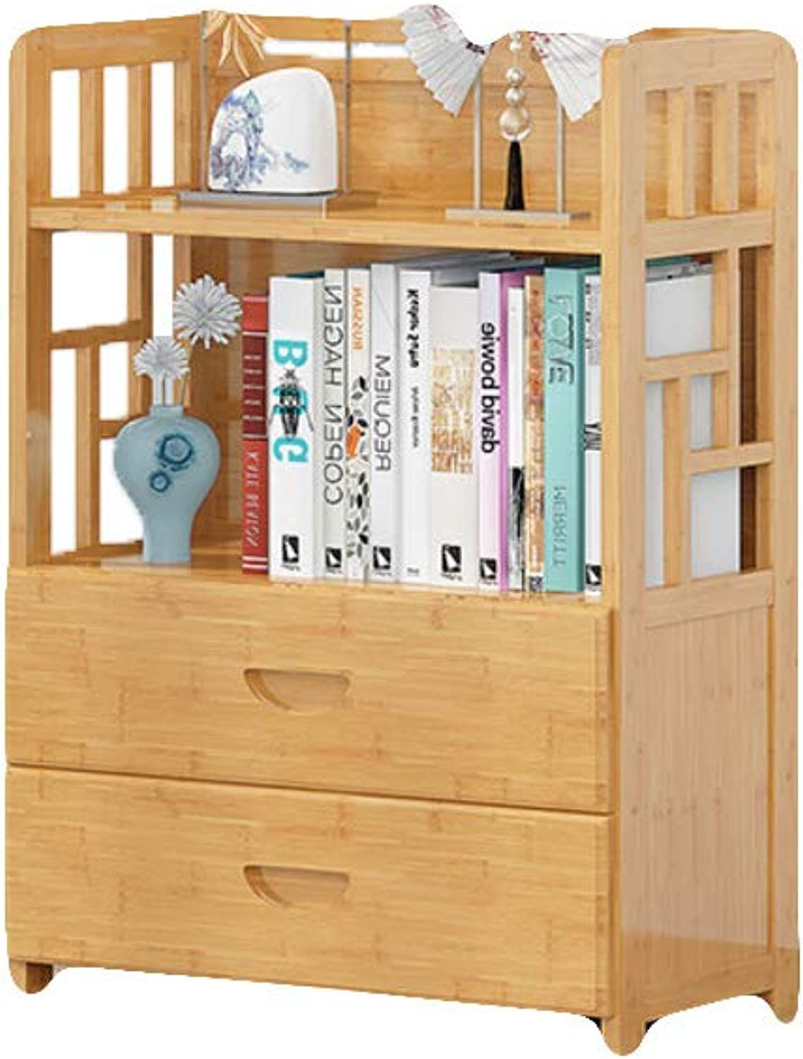 Multi-Space Storage Bamboo Bookshelf, Floor Simple Bookcase Book Shelf Wood Save Space Environmental Predection Gravity Wood Shelves-A 50X25X83cm