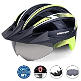Shinmax Bike Helmet for Men,Bicycle Helmet with USB Rechargeable LED Light CPSC Safety Standard Cycling Helmet/Adjustable Size Detachable Visor&Removable Magnetic Goggles for Road Mountain