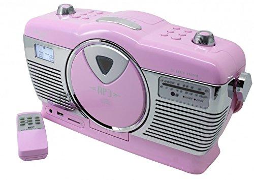 Soundmaster RCD1350PI Retro Radio mit CD-MP3, USB, SD, LCD Uhr mit Wecker