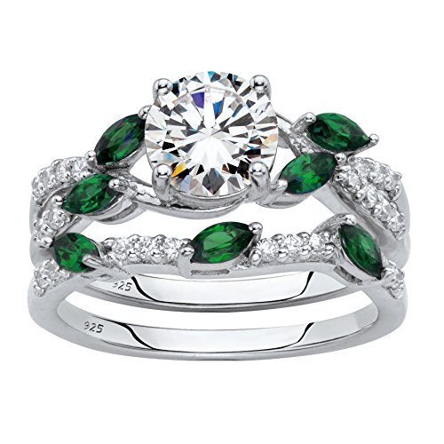 Platinum over Silver Cubic Zirconia and Created Emerald Emerald Bridal Ring Set Size 8