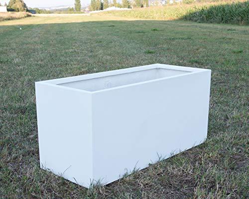 Pflanztrog Blumentrog Raumteiler Fiberglas rechteckig LxBxH 120x50x55cm perlmutt weiß