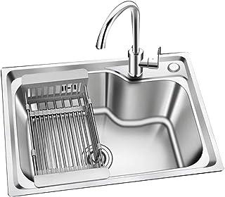 Tight Radius Handmade SUS 304 Stainless Steel Top Mount Bowl Modern Kitchen Sink,Extra Thick Deck w/Basket Strainers, Sink...