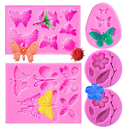 SUNSK Silicone Fondant Cake Moulds 3D Butterfly Dragonfly Molds Flowers Mould DIY Soap Jelly Ice Cake Chocolate Sweet Moulds Silicone Baking Molds Decorating Tools 5 Pieces