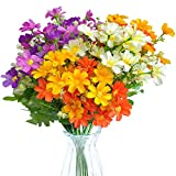 EverWin Artificial Fake Flowers Daisies Arrangements Bouquet for Home Decoration Table Centerpiece - Silk Faux Wild Colorful Flowers Daisies Bulk Bouquets with Stems for Crafts Outdoors (No Vase)