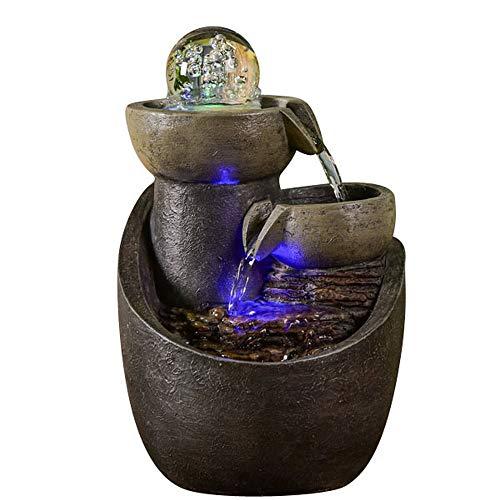 Zen Light – Zimmerbrunnen Malla – Dekoration Buddha Feng Shui – Ambiente Zen und Entspannung – LED-Beleuchtung Mehrfarbig – originelle Geschenkidee – L 18 x B 18 x H 28 cm, grau, Einheitsgröße