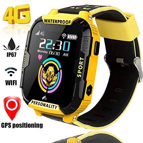 4G Smart Watch for Kids GPS Tracker - Boys Girls Smartwatch Phone with SOS Digital Watch Wi-Fi Calling Voice Video Chat Camera Alarm Clock Pedometer Fitness Tracker Games for Children