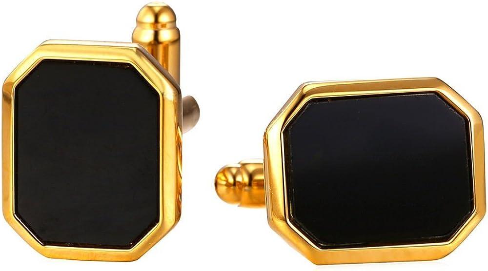 U7 Men Women Simple Cufflinks Modern Tuxedo Shirt Studs 18K Gold/Platinum Plated Cuff Links