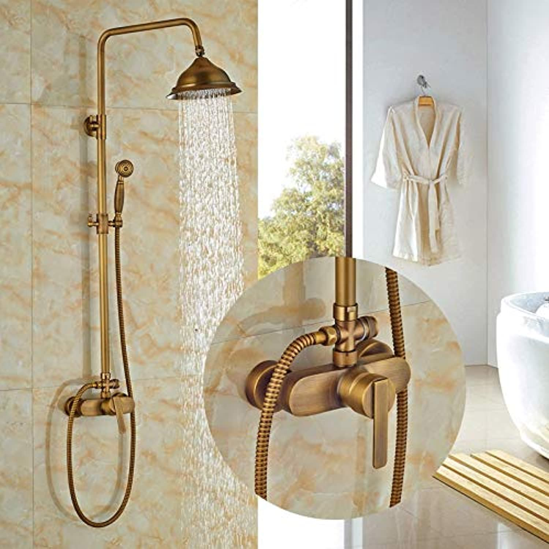 Antik Messing 8-in Duschset Badezimmer Dusche Wasserhahn Einhand-Regenduschkopf + Handbrause, Dark Khaki