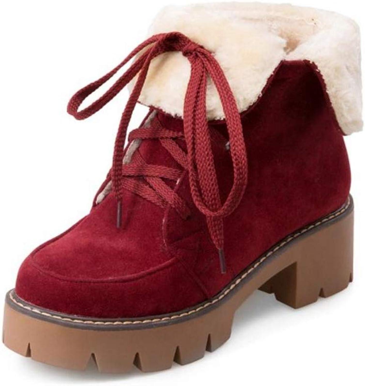 SENERY Women Winter Ankle Boots Fashion Cross Strap High Heels Lace Warm Plush Fur Female Round Toe Booties