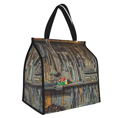 Man Cave Decor Vintage Tools Hanging On A Wall In A Tool Shed Workshop Fixing Equipment Multicolor Large Insulated Cooler Bag Picnic Freezer Bag 30l, Freezer Bagpicnic Camping Beach Tour Bbq