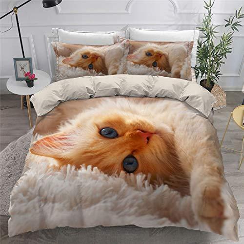 SUNHAON Pets Duvet Cover Set Bedding Sets, Quilt Covers Sets Comforter Case Full Twin Single Double Size 3d Cat Bed Linen Super King(260x220cm) D