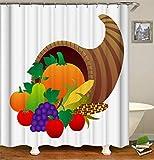 LGY Ernte. Kürbis, Trauben, Äpfel, Mais. Duschvorhang 180X180Cm. Hergestellt Aus Hochwertiger Polyesterfaser. 3D Hd-Druck. Freier Haken.