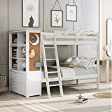 Merax Twin Over Twin Wood Bunk Bed with Bookcase, Storage Drawers, Cork Board and Ladder, Multi-Functional Combination of Bunk Bed and Storage Cabinet with Shelves and Drawers (White)