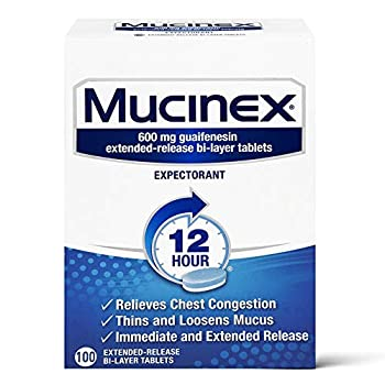 Mucinex 12 Hour Extended Release Tablets -Guaifenesin Relieves Chest Congestion Caused by Excess Mucus  #1 Doctor Recommended OTC expectorant  100 Count  Pack of 1