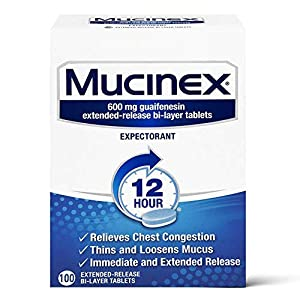 Mucinex 12 Hour Extended Release Tablets -Guaifenesin Relieves Chest Congestion Caused by Excess Mucus (#1 Doctor Recommended OTC expectorant), 100 Count (Pack of 1)