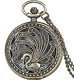 Collana Orologio da tasca antico al quarzo con pavone Stile retrò Collana di bellezza vuota Collana con ciondolo Orologio da regalo Oggetti d'arte animale Il regalo della collezione Reloj