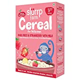 Slurrp Farm Organic Baby Cereal, Ragi, Rice and Strawberry with Milk, Instant Healthy Wholesome Food for Babies, 200g