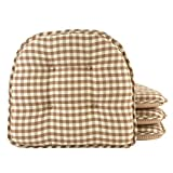 Klear Vu Tufted No Slip Dining Chair Pad Cushion, Set of 4, Gingham Natural