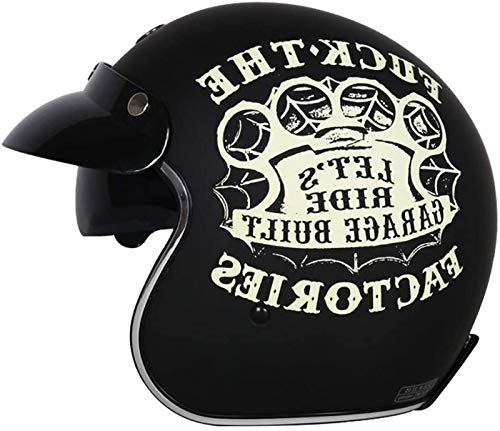 EBAYIN Casco De Cara Abierta Casco De Motocicleta Retro Harley Medio Casco Cruiser Chopper Scooter Pilot Jet Casco 3/4 Adulto Four Seasons Safety Collision Cap,H-XL(61~62cm)