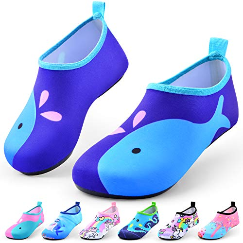 Sunnywoo Water Shoes for Kids Girls Boys,Toddler Kids Swim Water Shoes Quick Dry Non-Slip Water Skin Barefoot Sports Shoes AquaSocks for Beach Outdoor Sports,7-8.5 Toddler,Blue Whale