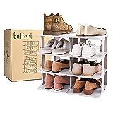 Baffect Organizador de zapateros de 4 Niveles, Organizador de Almacenamiento de Zapatos de plástico con combinación Gratuita, Organizador de Zapatos DIY para 8 Pares de Zapatos, 48,5 * 26 * 43 cm