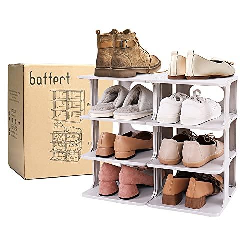 Baffect Organizer per scarpiera a 4 livelli, scarpiera in plastica con combinazione libera fai-da-te Organizer per scarpe salvaspazio Organizer per scarpe fai-da-te per 8 paia di scarpe 48,5*26*43 cm