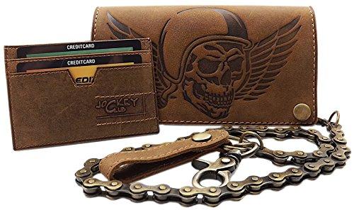 Cuero de búfalo motero cartera con cadena metálica con calavera-motivo y desmontable tarjetero con bloqueo RFID y NFC en marrón