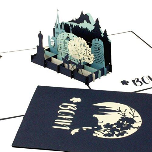 "3D Karte ""Bonn – City Panorama in Blau"" Grußkarte Bonner Münster, Glückwunschkarte, Geburtstagskarte, Reisegutschein, Souvenir"