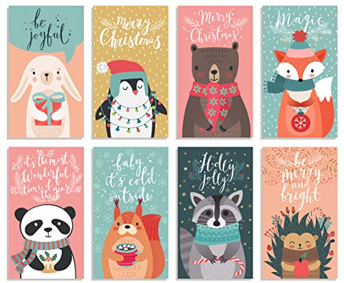 Happy Holiday Postcards / Christmas Postcards: Bulk Postcards Set Includes 48 Christmas Post Cards; 8 Different cute postcards designs (6 of each); Seasons Greeting Postcards; Happy New Year Postcards