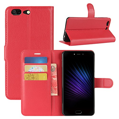 HualuBro Leagoo T5 Hülle, [All Aro& Schutz] Premium PU Leder Leather Wallet Handy Tasche Schutzhülle Hülle Flip Cover mit Karten Slot für Leagoo T5 Smartphone (Rot)
