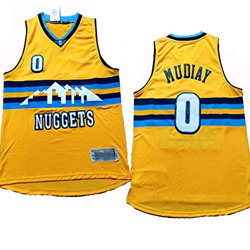 XIAOHAI Jerseys de la NBA de los Hombres -Denver Nuggets # 0 Emmanuel Mudiay Fresco Tela Transpirable Resistente al Desgaste Transpirable Vintage Jerseys Top Camiseta,XXL