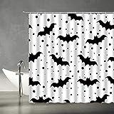 AMFD Gruseliger Duschvorhang Halloween schwarz & weiß Fledermäuse gepunktet Muster Kinder Mode Zuhause Stoff Badezimmer Dekor Set 177 x 178 cm mit Haken