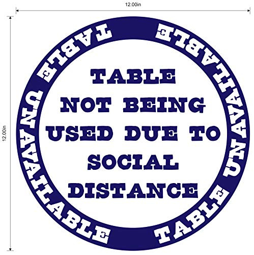 'Table Unavailable' Social Distancing COVID-19 (Coronavirus) Durable Laminated Vinyl Decal- 12' Sign by Graphical Warehouse- Safety and Security Signage, Visual Communication Tool (Blue)
