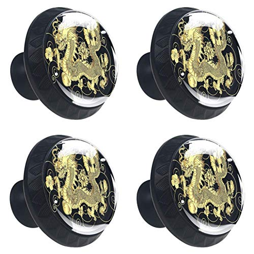 Glass DIY Gold Japanese Dragon Round Cabinet Knobs Drawer Pull Handle with Screws 4pcs for Home Wardrobe Office Kitchen Dresser and Cupboard