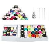 QUARKACE Sewing Machine Thread, 60 Pieces Sewing Thread Kit Including Threaded Bobbins