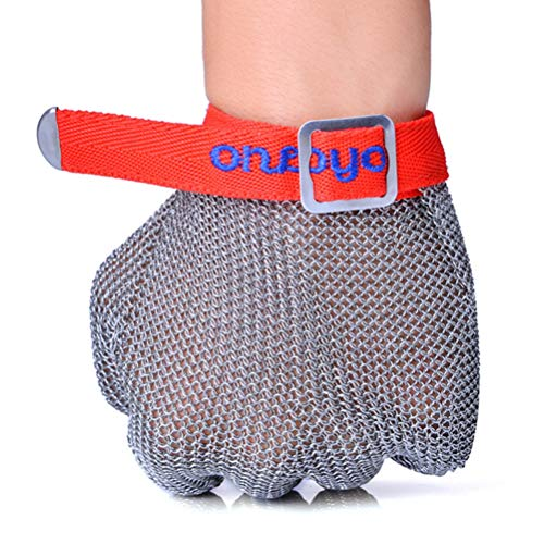Schnittfeste Handschuhe-XHZ 1 Fünf-Finger-Anti-Cutting Stahl Draht Handschuh, Anti-Cutting-Schutz Stahl Ring Handschuh und Edelstahl Metall Handschuh (Size : X-Large)